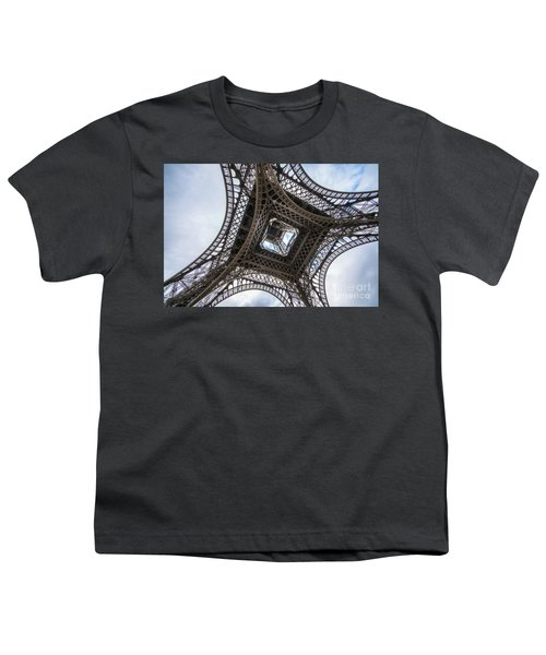 Abstract Eiffel Tower Looking Up 2 Youth T-Shirt by Mike Reid