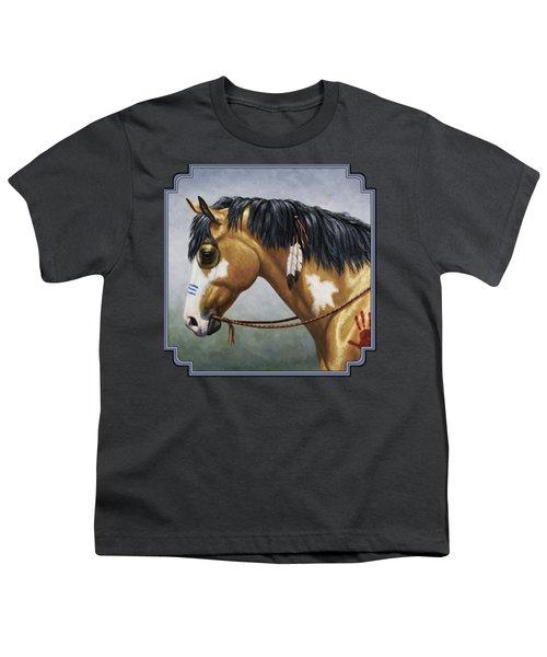 Buckskin Native American War Horse Youth T-Shirt by Crista Forest