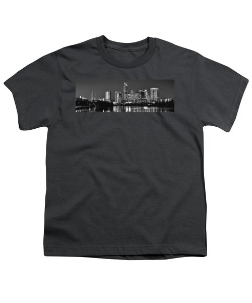 Austin Skyline At Night Black And White Bw Panorama Texas Youth T-Shirt by Jon Holiday