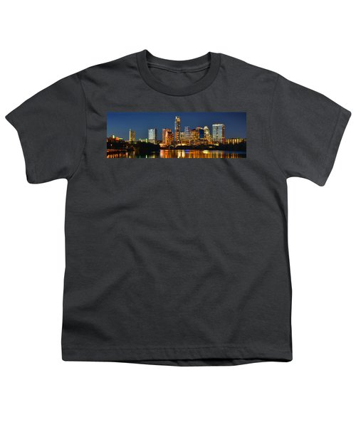 Austin Skyline At Night Color Panorama Texas Youth T-Shirt by Jon Holiday