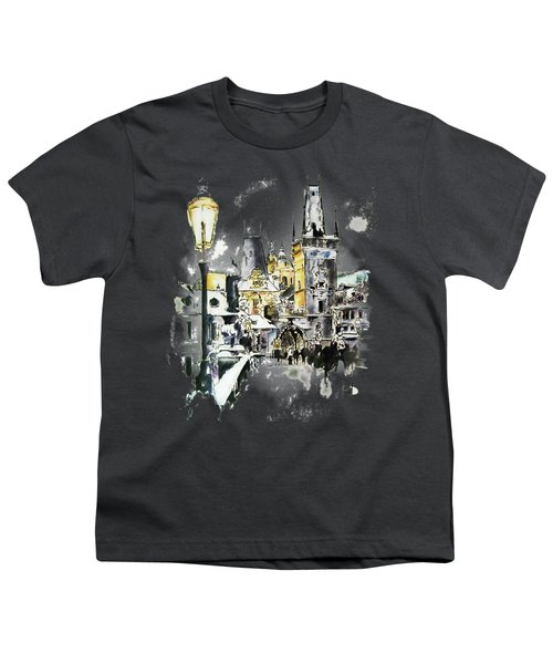 Charles Bridge In Winter Youth T-Shirt by Melanie D
