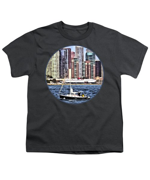 Chicago Il - Sailing On Lake Michigan Youth T-Shirt by Susan Savad