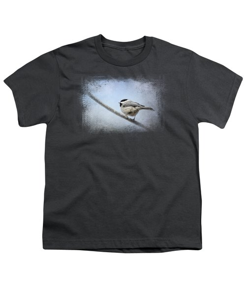 Chickadee In The Snow Youth T-Shirt by Jai Johnson