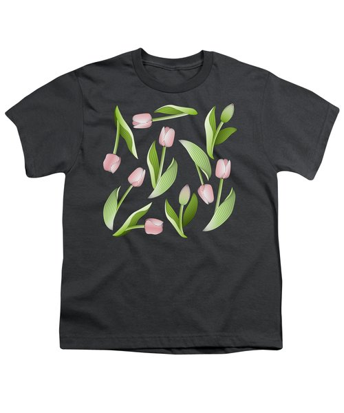Elegant Chic Pink Tulip Floral Patten Youth T-Shirt by Wind-Up Sprout Design