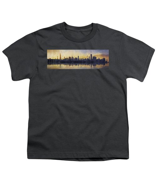 Fire In The Sky Chicago At Sunset Youth T-Shirt by Scott Norris