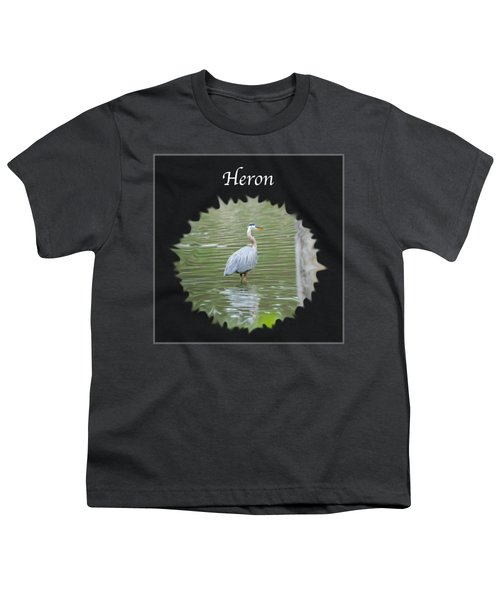 Heron Youth T-Shirt by Jan M Holden