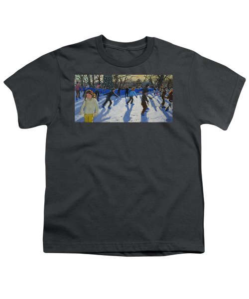 Ice Skaters At Christmas Fayre In Hyde Park  London Youth T-Shirt by Andrew Macara