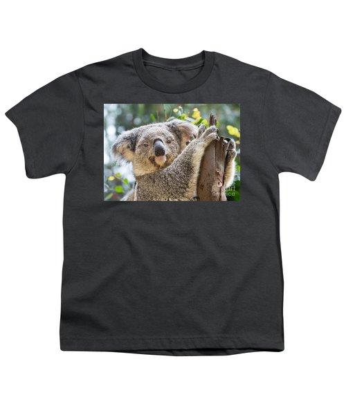 Koala On Tree Youth T-Shirt by Jamie Pham