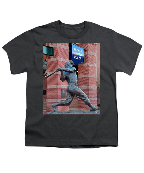 Mickey Mantle Youth T-Shirt by Frozen in Time Fine Art Photography