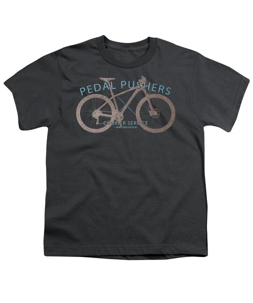 Pedal Pushers Courier Service Bike Tee Youth T-Shirt by Edward Fielding