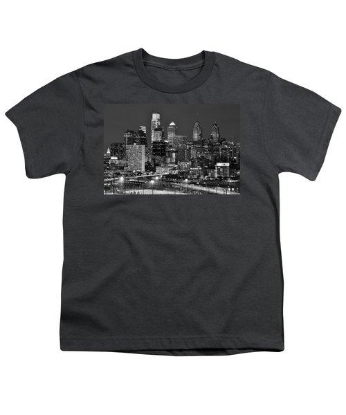 Philadelphia Skyline At Night Black And White Bw  Youth T-Shirt by Jon Holiday