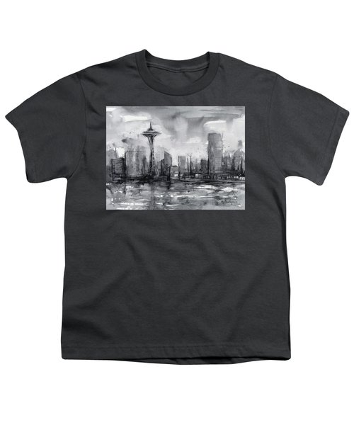 Seattle Skyline Painting Watercolor  Youth T-Shirt by Olga Shvartsur