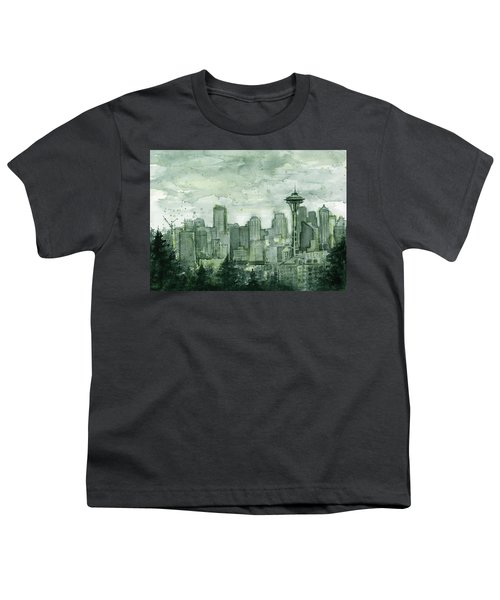 Seattle Skyline Watercolor Space Needle Youth T-Shirt by Olga Shvartsur