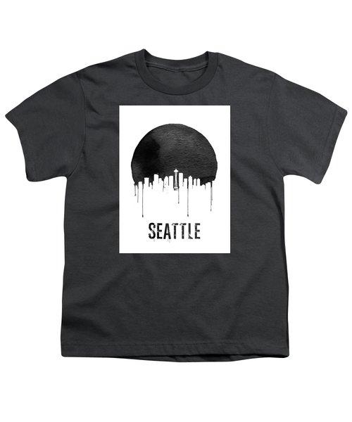 Seattle Skyline White Youth T-Shirt by Naxart Studio