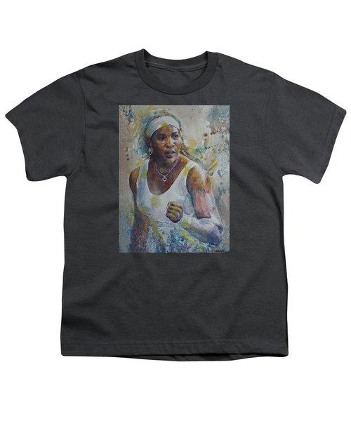 Serena Williams - Portrait 5 Youth T-Shirt by Baresh Kebar - Kibar