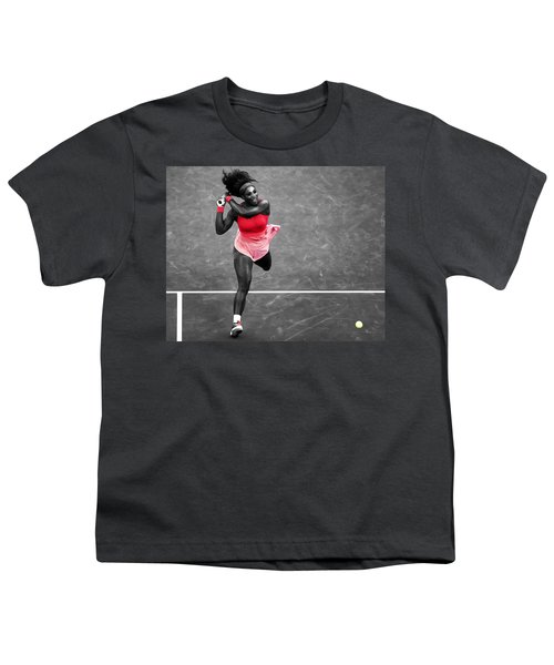 Serena Williams Strong Return Youth T-Shirt by Brian Reaves