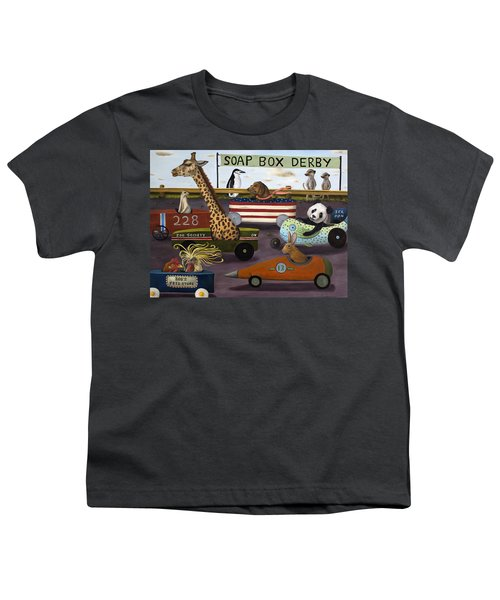 Soap Box Derby Youth T-Shirt by Leah Saulnier The Painting Maniac
