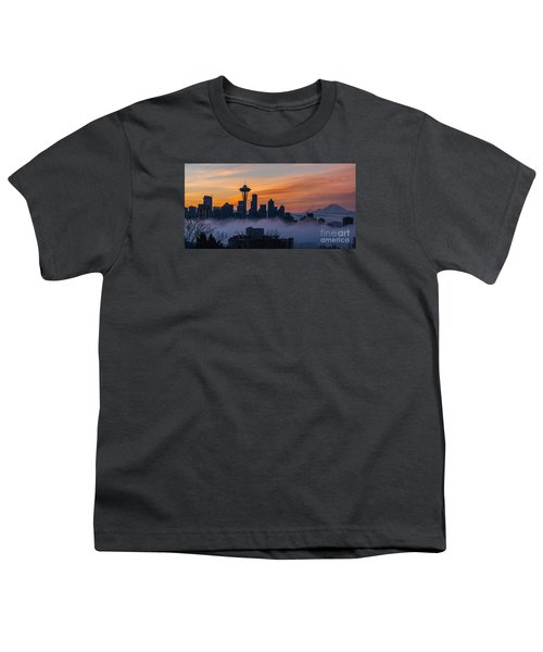 Sunrise Seattle Skyline Above The Fog Youth T-Shirt by Mike Reid