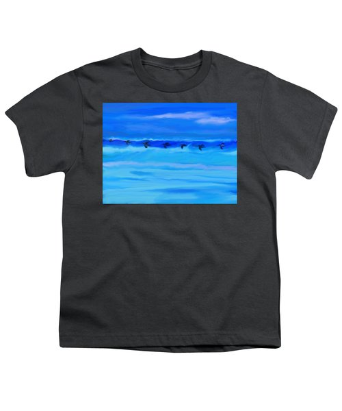 Vol De Pelicans Youth T-Shirt by Aline Halle-Gilbert