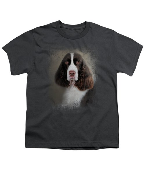 Waiting Patiently - English Springer Spaniel Youth T-Shirt by Jai Johnson