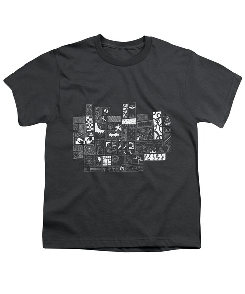 White On Black Abstract Art Youth T-Shirt by Caffrey Fielding