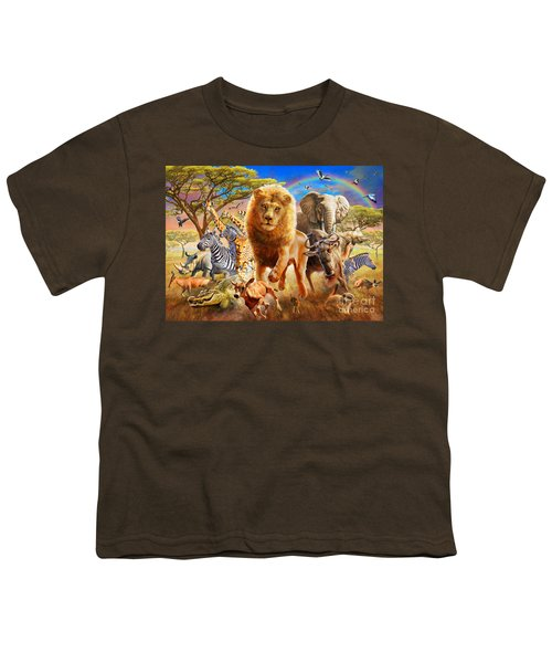 African Stampede Youth T-Shirt by Adrian Chesterman