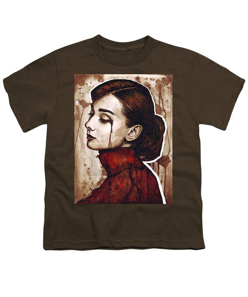 Audrey Hepburn Portrait Youth T-Shirt by Olga Shvartsur