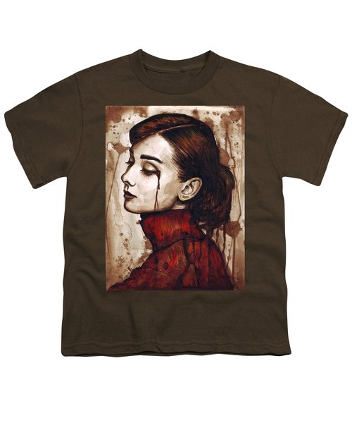 Audrey Hepburn - Quiet Sadness Youth T-Shirt by Olga Shvartsur