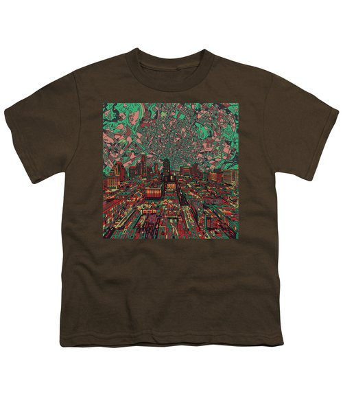 Austin Texas Vintage Panorama 3 Youth T-Shirt by Bekim Art