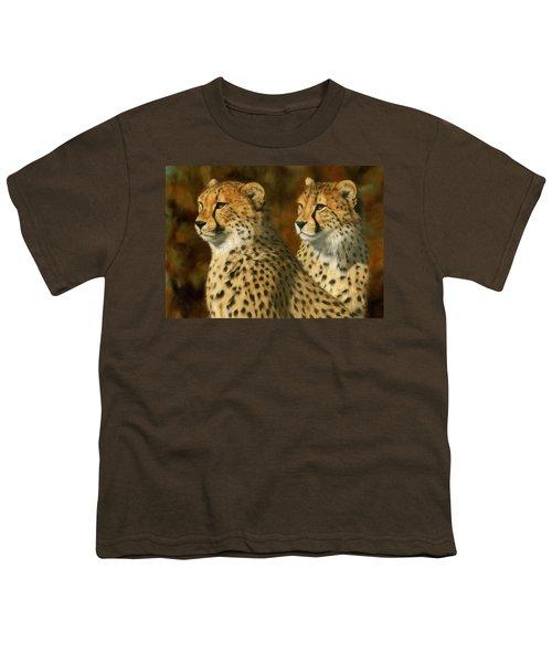 Cheetah Brothers Youth T-Shirt by David Stribbling