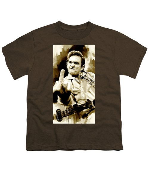 Johnny Cash Artwork 2 Youth T-Shirt by Sheraz A
