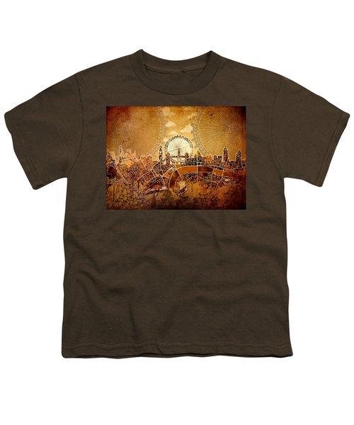 London Skyline Old Vintage  Youth T-Shirt by Bekim Art