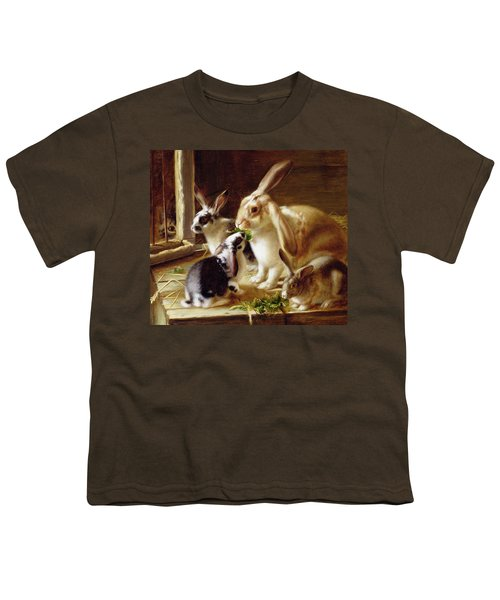 Long-eared Rabbits In A Cage Watched By A Cat Youth T-Shirt by Horatio Henry Couldery