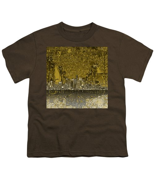 Los Angeles Skyline Abstract 4 Youth T-Shirt by Bekim Art