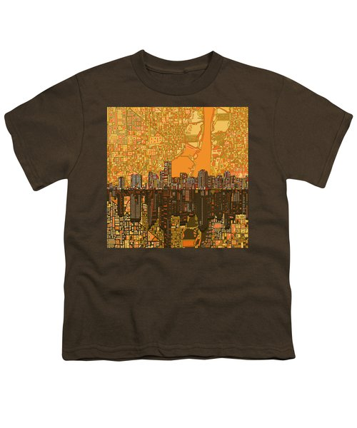 Miami Skyline Abstract 5 Youth T-Shirt by Bekim Art