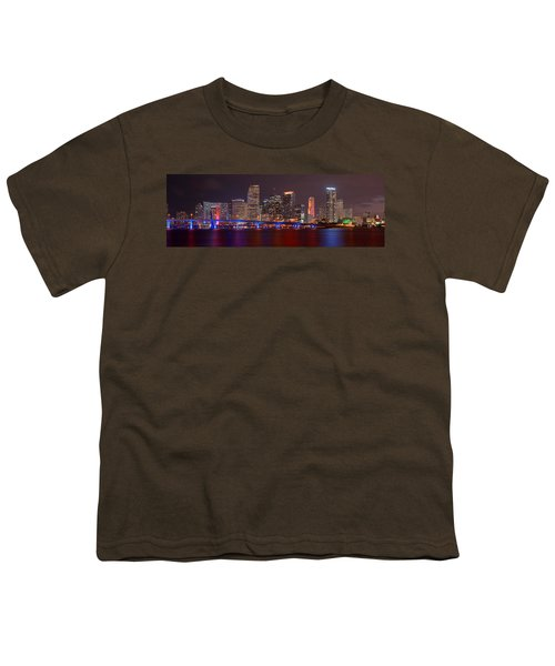 Miami Skyline At Night Panorama Color Youth T-Shirt by Jon Holiday