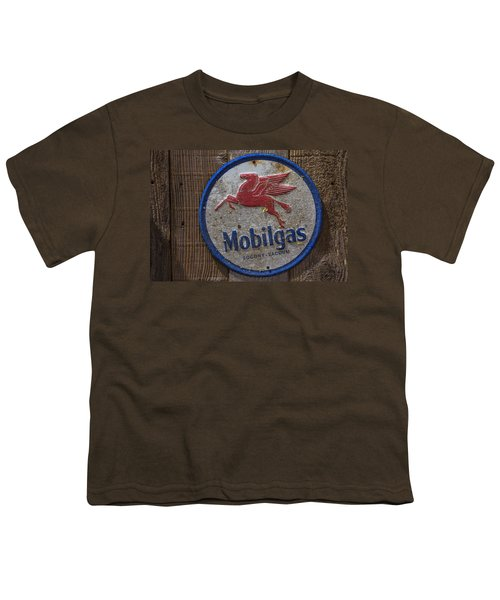 Mobil Gas Sign Youth T-Shirt by Garry Gay