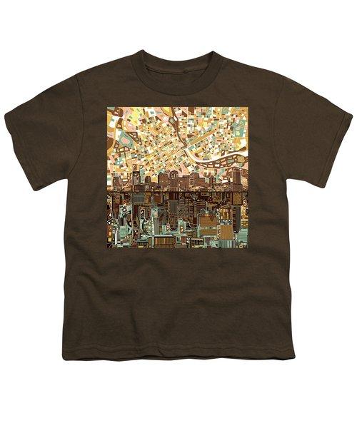 Nashville Skyline Abstract 4 Youth T-Shirt by Bekim Art