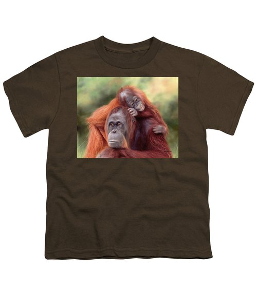 Orangutans Painting Youth T-Shirt by Rachel Stribbling