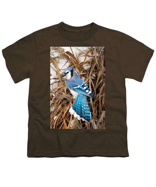 Portrait Of A Blue Jay Youth T-Shirt by Bill Wakeley