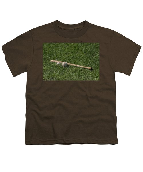 Softball Baseball And Bat Youth T-Shirt by Bill Cannon