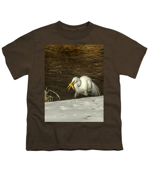 White Egret Snowy Bank Youth T-Shirt by Robert Frederick