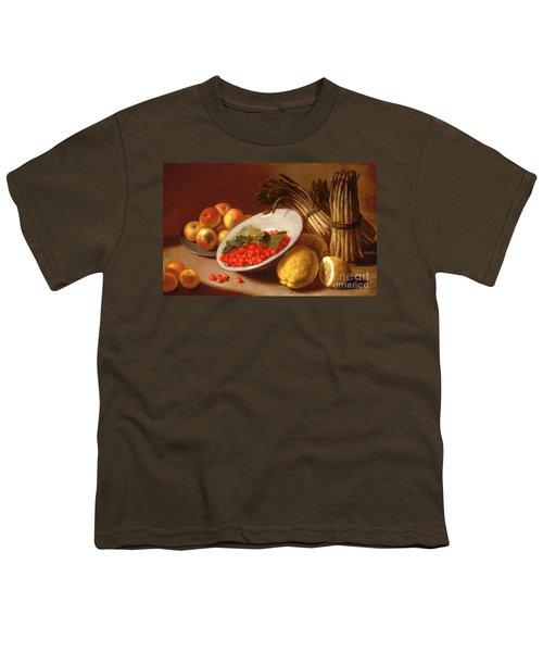 Still Life Of Raspberries Lemons And Asparagus  Youth T-Shirt by Italian School