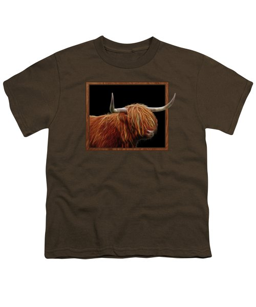 Bad Hair Day - Highland Cow - On Black Youth T-Shirt by Gill Billington