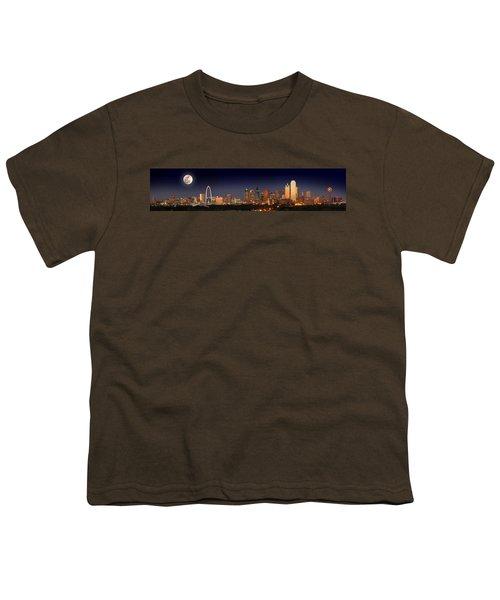 Dallas Skyline At Dusk Big Moon Night  Youth T-Shirt by Jon Holiday