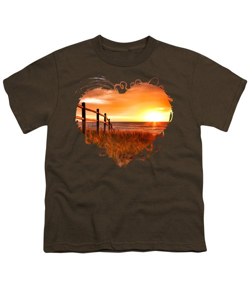 Door County Europe Bay Fence Sunrise Youth T-Shirt by Christopher Arndt