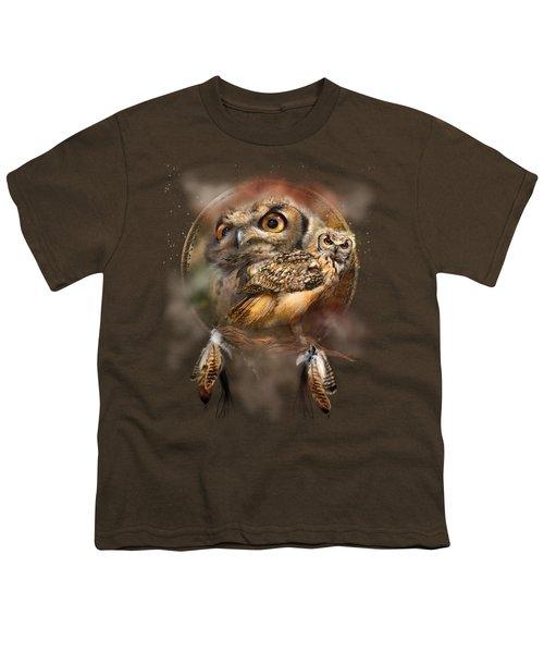 Dream Catcher - Spirit Of The Owl Youth T-Shirt by Carol Cavalaris