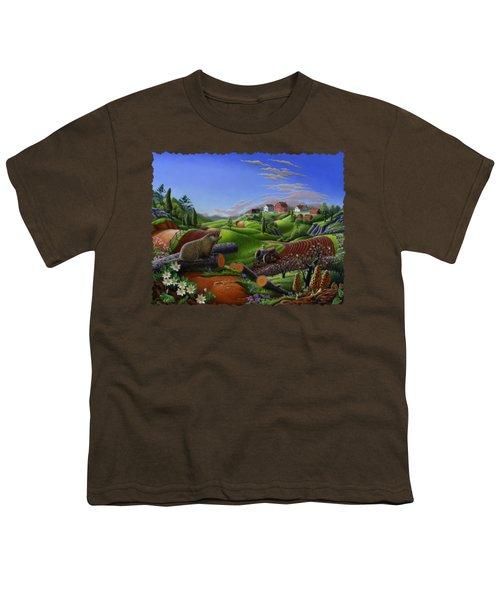 Farm Folk Art - Groundhog Spring Appalachia Landscape - Rural Country Americana - Woodchuck Youth T-Shirt by Walt Curlee