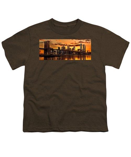 Fiery Sunset Over Manhattan  Youth T-Shirt by Az Jackson