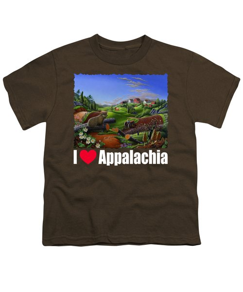 I Love Appalachia T Shirt - Spring Groundhog - Country Farm Landscape Youth T-Shirt by Walt Curlee